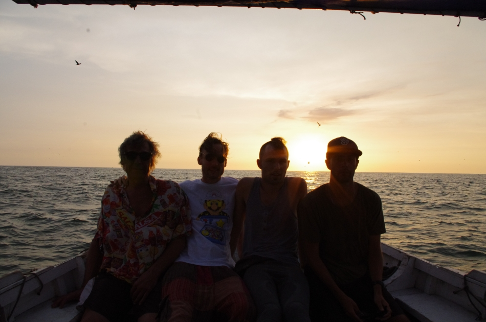 on the boat with friends-